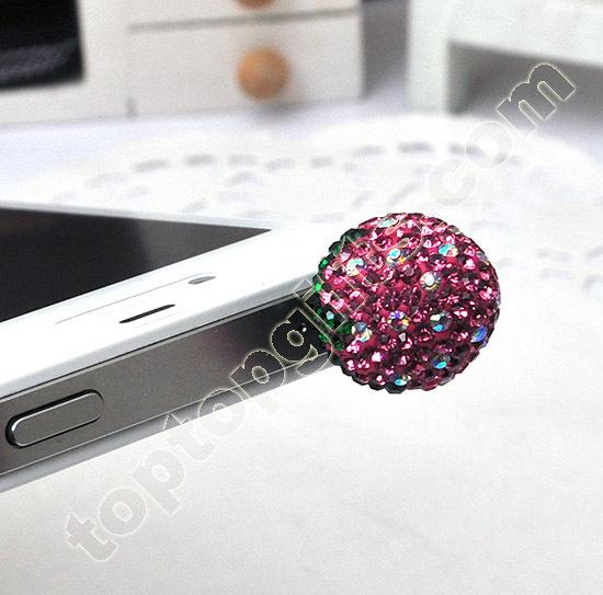 Iphone Rhinestone Strawberry Anti Dust Plug