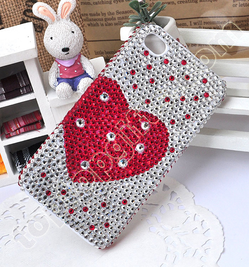 Iphone4 Red Heart Rhinestone Mobile Phone Shell 2012 Fashion Accessories