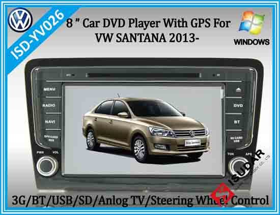 Isd Yv026 8 Inch 2 Din Wince Car Dvd Player With Gps For Vw Santana 2013