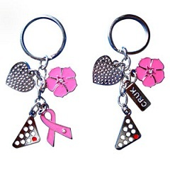 Keychain With Iron Enamel Heart And Flower