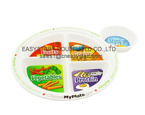 Kids Food Plate Divided Dinner Bpa Free Plastic