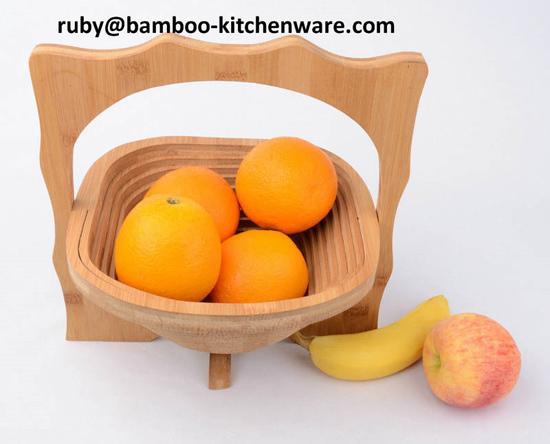 Kitchen Wedding Gift Bamboo Wooden Tea Pot Folding Collapsible Fruit Basket