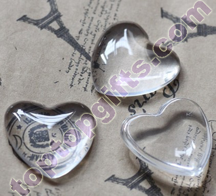 Large Heart Glass Cabochon Flat Clear Stones