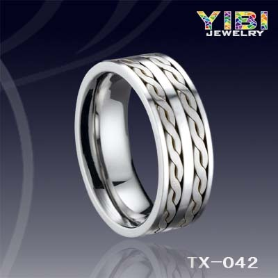Last Forever Tungsten Jewellery New Silver Inlay Ring