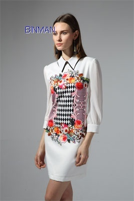 Latest New Printed Baroque Ladies Career Dress