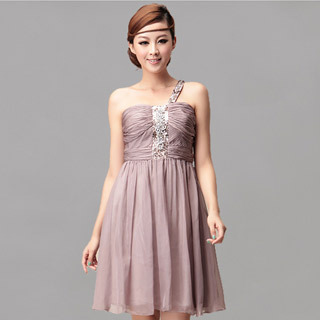 Lavender One Shoulder Beaded Sleeveless Designer Evening Dresses