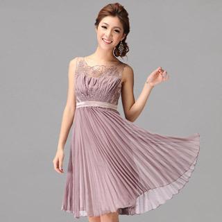 Lavender Pleated Sleeveless Sequin Evening Dress
