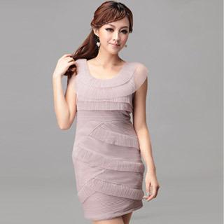 Lavender Ruffle Multi Layer Sleeveless Plus Size Evening Dress