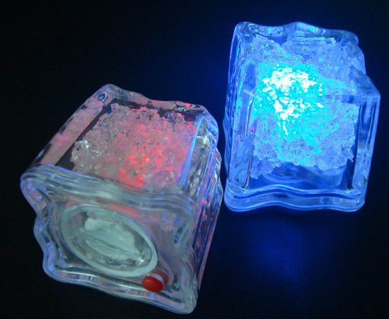 Led Button Activated Flashing Ice Cube