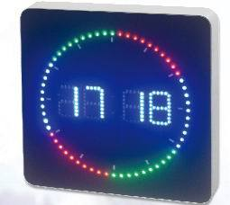 Led Digital Clock With Colorful Ring Second Display