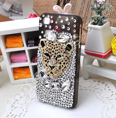 Leopard Rhinestone Iphone4 Mobile Phone Shell