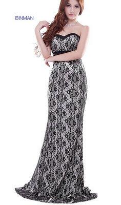 Long Elegant Lace Evening Dress