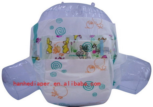 Lovely Diapers Baby With Cartoon Picture