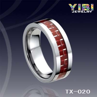 Men S Red Carbon Fiber Inlay Beveled Edge Tungsten Carbide Ring