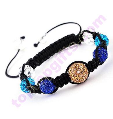 Metal Rhinestone Shamballa Bracelet With Crystal Beads