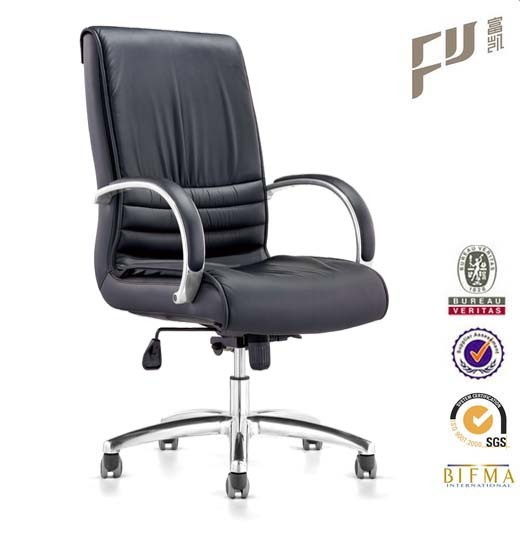Mid Back Ribbed Management Classical Office Chair With Aluminum Base And Ar