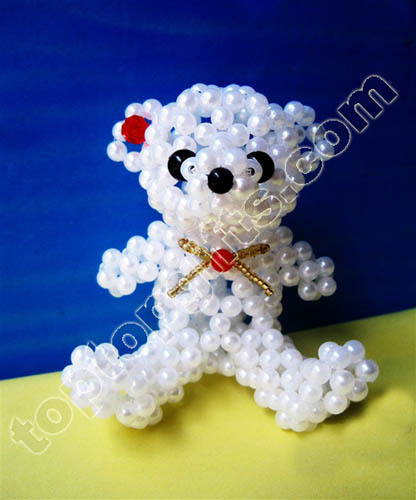Mini Plastic Pearl Beaded Teddy Bear