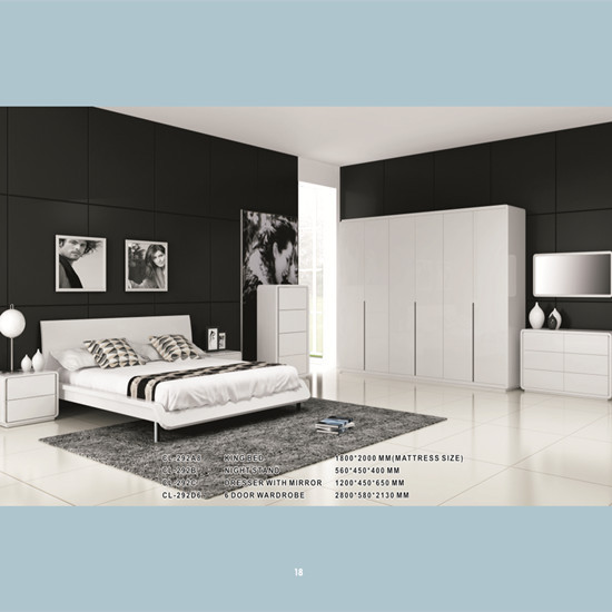 Modern Bedroom Set With White High Gloss Lacquer Manufacture
