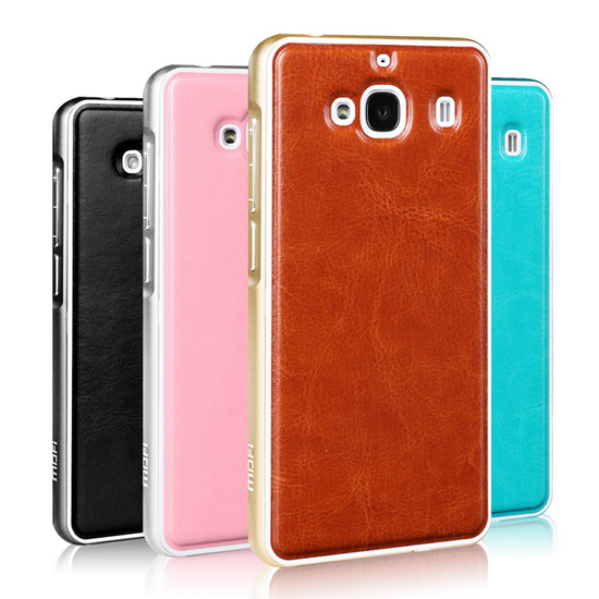 Mofi Unique Design Xiaomi Redmi2 Aluminum Bumper Cases With Pu Leather Back