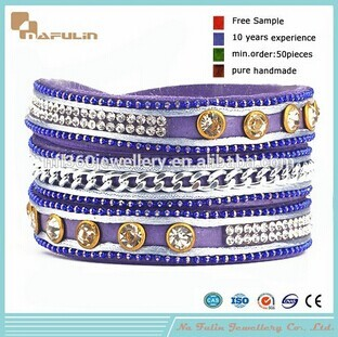 Nafulin High Quality Spanish Jewelry Copper Beads Skull Leather Bracelet