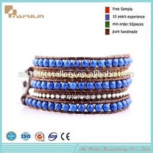 Nafulin Natural Aquamarine Gemstone Beads Bracelets Jewelry