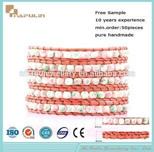 Nafulin Orange Leather Semi Precious Stones Bracelets Beads Wholesale