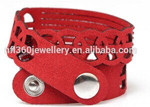 Nafulin Top Quality 2 Row Red Resin Beads With Korean Lint Wrap Bracelets