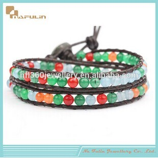 Nafulin Wholesale New High Quality Small Colorful Leather Seed Bead Bracele