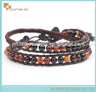 Nflbr090 Natural And Fancy Colorful Agate Beads Leather Woven Jewelry Brace