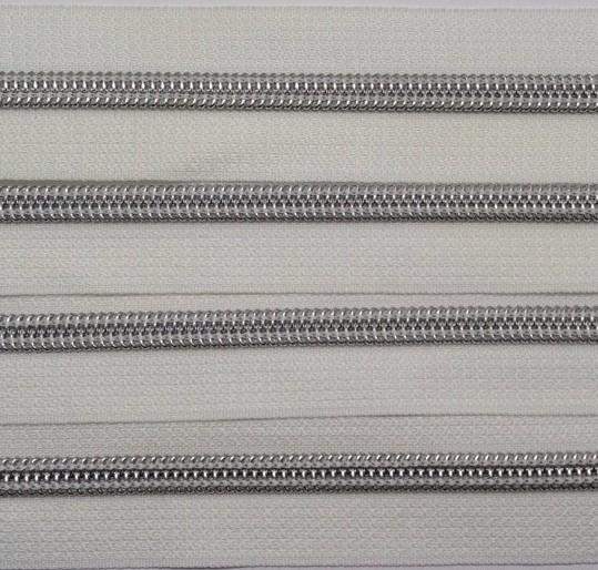 No 5 Nylon Zipper Long Chain Silver Teeth