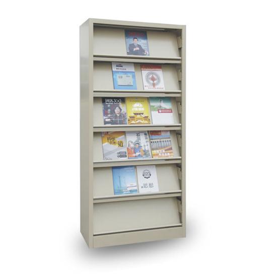 Office Metal Book Display Shelf 6 Tier Opening Steel Magazine Rack