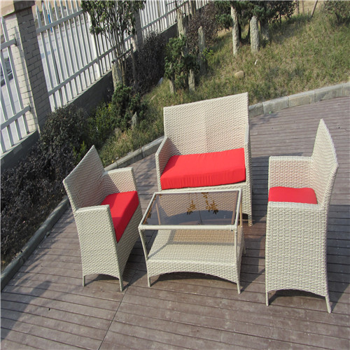 Patio Garden Rattan Sofa Set Including A Rectangle Table