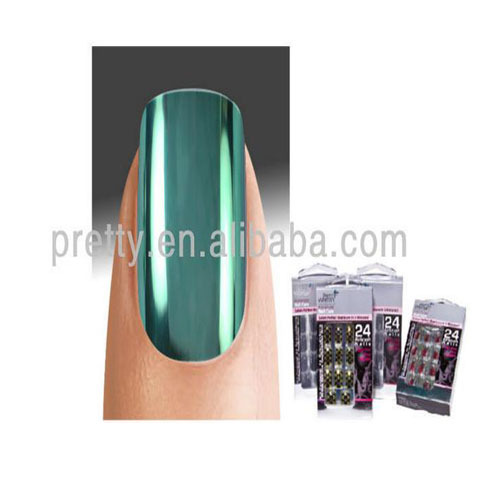 Pe077 24pcs Metallic False Nail Art