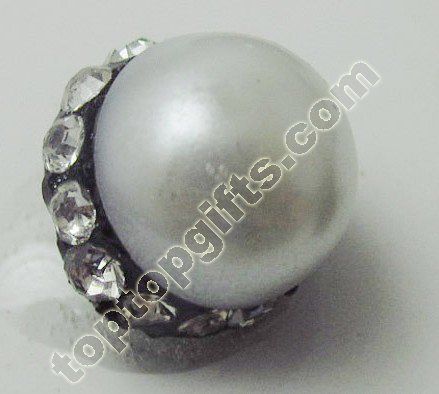 Pearl With Rhinestone Middle East Button