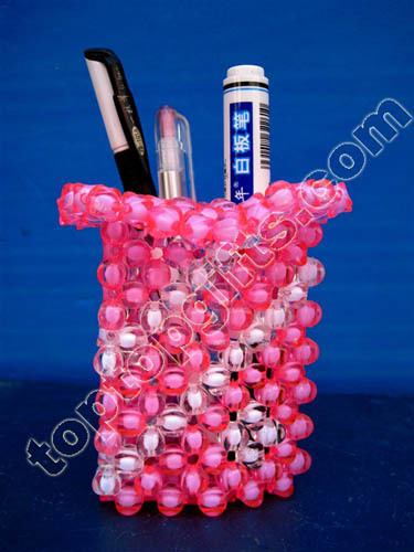 Pink Acrylic Beaded Pen Container