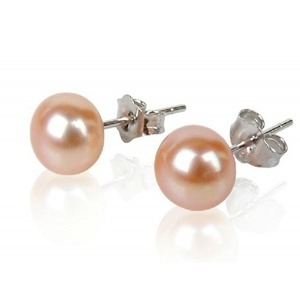 Pink Freshwater Stud Pearl Earrings 5 0 6 Mm Aa