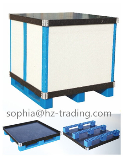 Plastic Coaming Box Or Crate Container Storage With Pallet