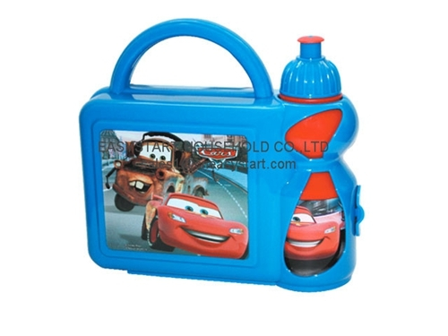 Plastic Kids Lunch Box With Water Bottle Set