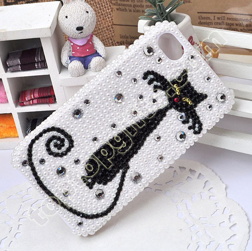 Plastic Pearl Cat Mobile Phone Shell