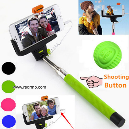 Plus Extendable Handheld Monopod Audio Cable Wired Selfie Stick Take Photos