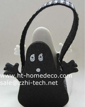 Promotion Gift Halloween Black Color Felt Basket