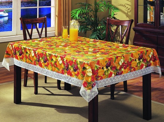 Pvc Tablecloth With Non Woven Or Flannel Backing