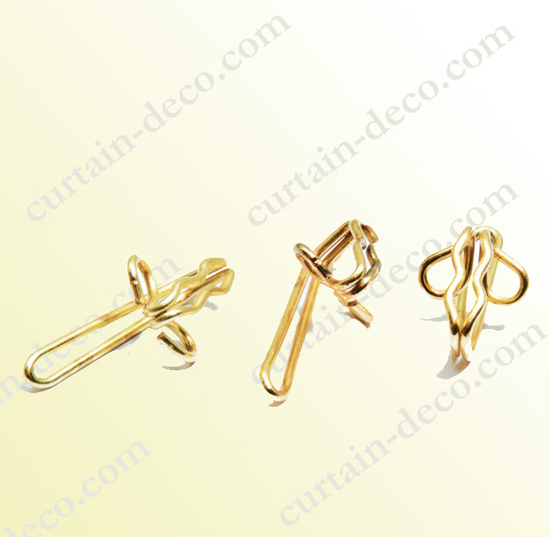 R7 Bright Brass Plated Curtain Hook