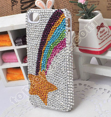 Rainbow With Star Rhienstone Phone Shell For Iphones