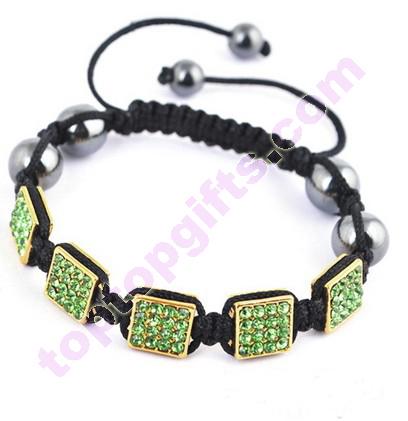 Rectangle Metal Rhinestone Cord Kniteed Shamballa Bracelet