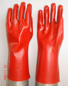 Red Pvc Glove Gauntlet Smooth Finish