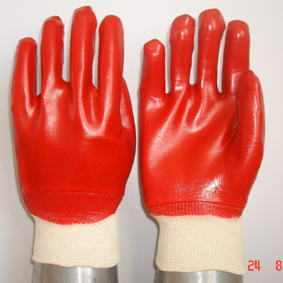 Red Pvc Glove Knit Wrist Smooth Finish