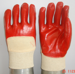 Red Pvc Glove Open Back Knit Wrist Smooth Finish