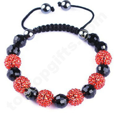 Resin Shamballa Bracelet With Crystal Bead And Hematite