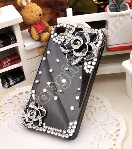 Rhinestone Camellia Iphone4 Cover Flower Mobile Phone Shell